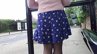 pink and blue windy little skirt and stockings