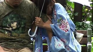 Outdoors video of a shy Japanese babe getting fingered by a stranger