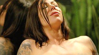 Tattooed temptress Tana Lea is making love with sex-appeal girlfriend
