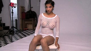 Shanaya Beautiful Indian Beauty In White Fishnet Nude Photo