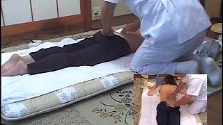 Sex toy applied on Jap babe in voyeur massage video