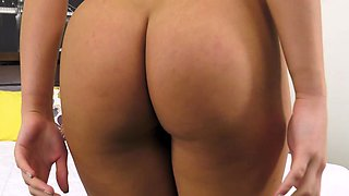 Teen Babe Mila Monet Strips from Lingerie and Masturbates