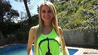 Blonde Karina Grand likes to taste warm sperm after hot shagging