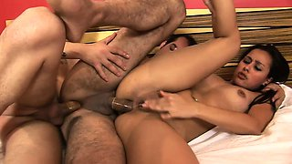 Horny bisexuals Claudio, Pablo and Bianca engage in a torrid MMF threesome