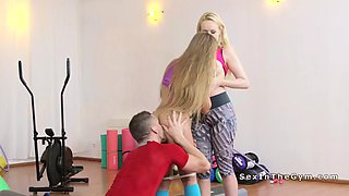 fitness coach seducing two hot babes
