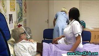 Slutty cfnm nurse with big tits